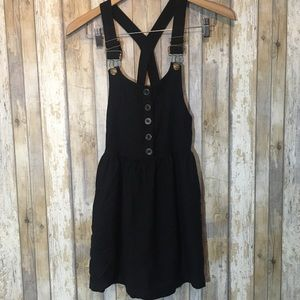 Kimchi blue black overall mini dress w/ pockets